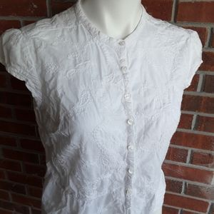 Relativity Embroidered White Top Petite Large